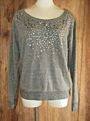 2493ef6c803f5 American Eagle Womens Sequin Soft Gray Sparkly Sweater Size Large Comfy  Scoop