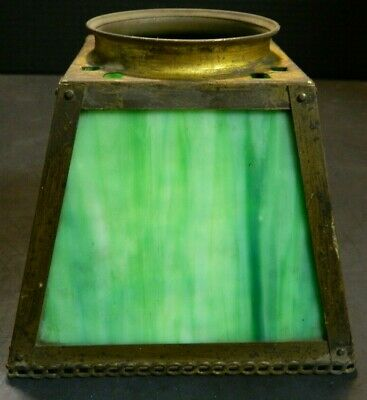 Antique Mission Arts & Crafts Style Green Slag Glass Shade Brass Frame Good