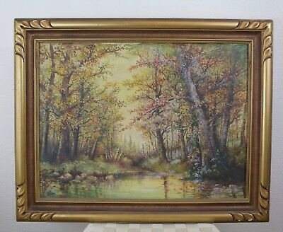 Vintage Landscape Oil Painting - In the Woods Along a Creek - Fall  - Le Blond