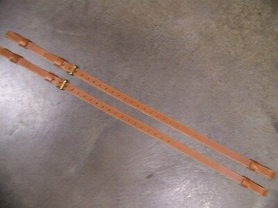 Leather Luggage Straps for Luggage Rack Carrier 2 pc Set Lt Honey Solid Brass