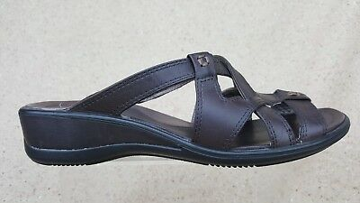 2ef68994b64a Ecco Leather Strappy Sandals Brown Slide Shoes Women s Size EU 37 US 6-6.5