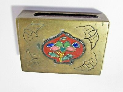 Brass Enamel Floral Oriental Chinese Etched Floral Rose Design Matchbox Holder
