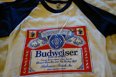 Budweiser T-shirt Vintage M Craft Brewery Baseball PBR Hipster King Of Beers NYC