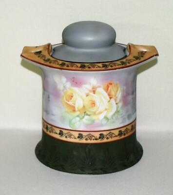 ANTIQUE ROYAL BAYREUTH BAVARIA HP ROSES LIDDED PORCELAIN HUMIDOR w/ PIPE HOLDERS