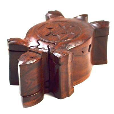 Decorative Wooden Puzzle Game Box Sea Turtle Shaped Handmade Kids & Adults Gift