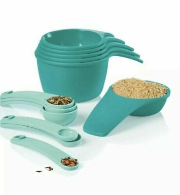 Tupperware Measuring Cups & Spoons 12-piece Set Teal & Aqua Blue Shade - NEW