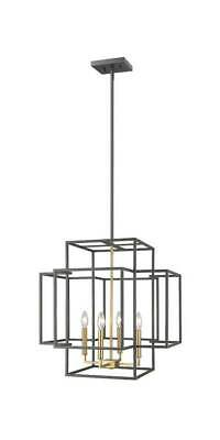 4-Light Steel Pendant in Bronze and Olde Brass Finish [ID 3734472]