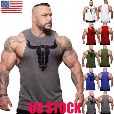 US Mens Gym Muscle Shirt Tank Top Sports Bodybuilding Fitness Athletic Vest NEW