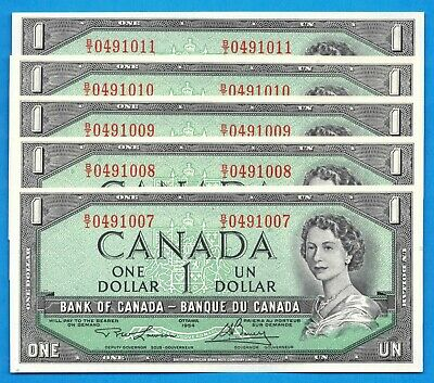 5 Consecutive $5 1954 Bank of Canada Notes B/I Prefix BC-37d - Choice UNC