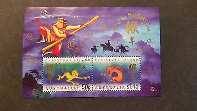 N0-2--2004    Christmas   Island -Year Of  Monkey  Issue   Mini  Sheet--Used--A1
