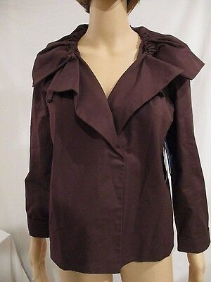 Simply Vera Wang Womans Portrait Collar Urban Montage Jacket Raspberry Small