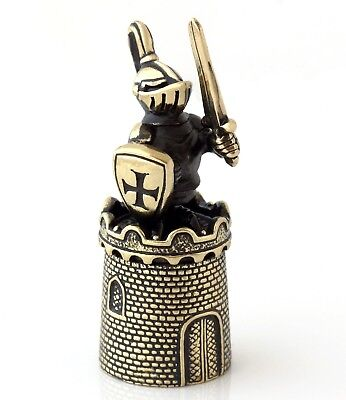 Brass Bronze Thimble Medieval Knight Figurine on Tower Russian Souvenir