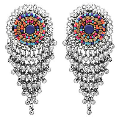 Jwellmart Indian Afghani Style Oxidized Silver Fashion Bali Jhumka Earrings