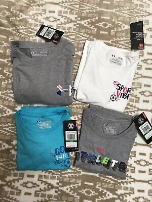 14-16 Lot of 4 Brand New Girls Youth Large L Under Armour T Shirts MSRP $85