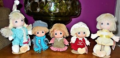 """Lot Of 5 Rare Vintage 80' & '90's Precious Moments Cloth 6""""-8"""" Dolls **REDUCED**"""