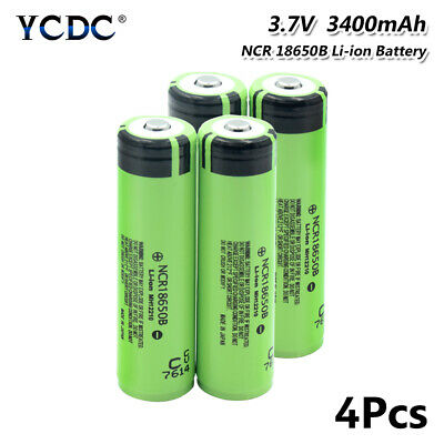 4Pcs High Drain 20A NCR 18650B Battery 3400mAh Rechargeable For Vape Headlamp