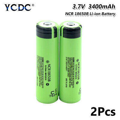 2Pcs High Drain 20A NCR 18650B Battery 3400mAh Rechargeable For Vape Headlamp