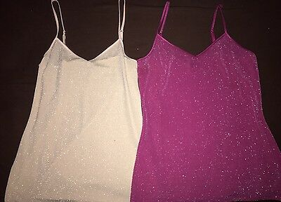 Lot Of 2-Women's Express Hot pink/light Pink with metallic threading tops-Small