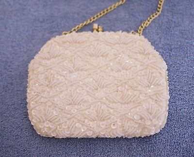 VINTAGE White **Bling & Beaded *Evening clutch/purse BEAUTIFUL Made in Hong Kong