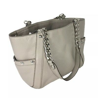 907fecf30e13 NWT Michael Kors Delancy Large Leather Shoulder Handbag Pearl Grey Macys  $498