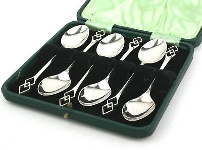Arts & Crafts Style Sterling Silver Coffee Spoons Set of 6 Cased Sheffield 1941