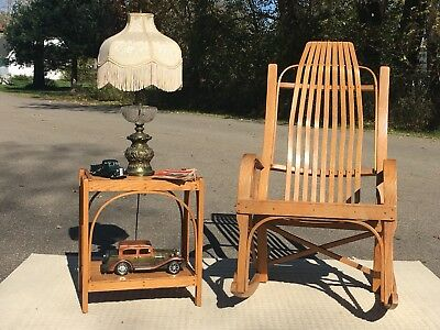 Golden Hickory Rocker Amish Yoder Stamp Wooden Rocker Chair Matching Side Table
