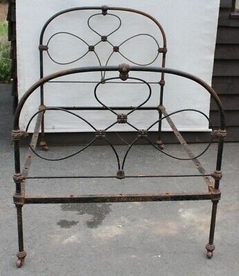 1910's Single Iron Bed Frame. CHECK SIZE. Needs Painting.