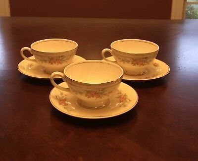 "3 HOMER LAUGHLIN GEORGIAN EGGSHELL ""COUNTESS"" CUP and SAUCER SETS"