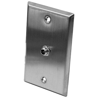 """Seismic Audio Stainless Steel Wall Plate - One 1/4"""" TS Mono Jack - Cable Install"""