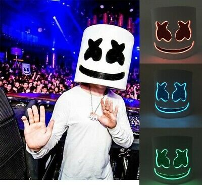 DIY EVA DJ Marshmello LED Luminous Helmet Mask Cosplay Prop Halloween