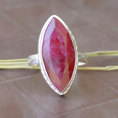 Marquise Faceted Red Ruby Gemstone 925 Sterling Silver Ring Size 9