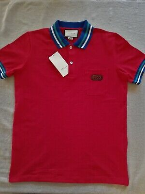cc5c21e37f7 100% AUTHENTIC RED Gucci Polo With Gucci Patch Large Brand New Polo ...