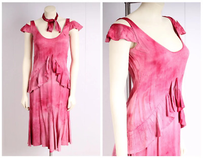 antique 1920s dress pink silk flapper vintage 1930s flutter ruffle tiered skirt