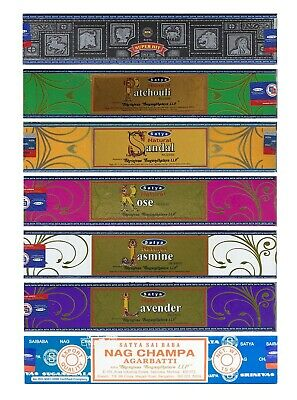 3 or 12 Pack Box Satya Genuine Nag Champa Natural Incense Sticks Joss - Fresh