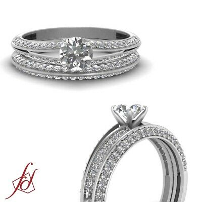 1 25 CTW ROUND Cut Diamond Knife Edge Engagement Ring And Matching Wedding  Band