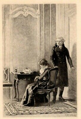 Antique Art print  Portrait  Mirabeau and the Queen Etching by Gery Bichard