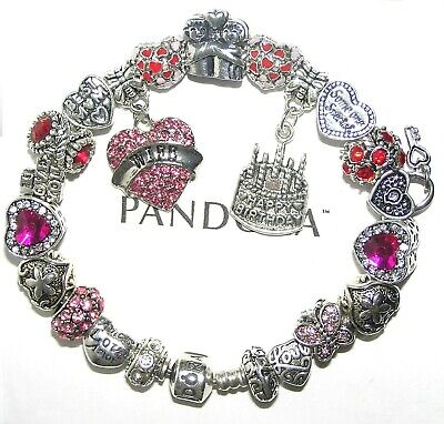 Authentic Pandora Silver Bracelet with WIFE BIRTHDAY LOVE, PINK European Charms