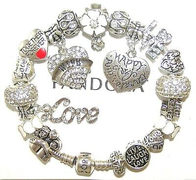 Authentic Pandora Silver Bracelet with WIFE, ANNIVERSARY, LOVE European Charms