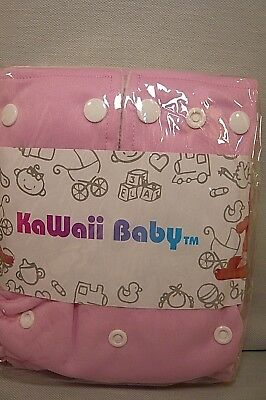 NEW KAWAII BABY PINK 1 SZ. POCKET CLOTH DIAPER COVER-8-36 #.-2 Inserts