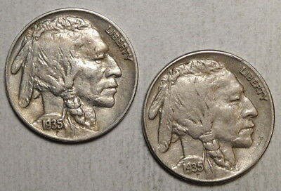 Pair of 1935 Buffalo Nickels, One Each P & S, Choice Extremely Fine   0504-13