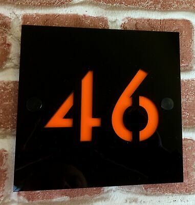 personalised full acrylic HOUSE SIGN PLAQUE door number gate contemporary modern