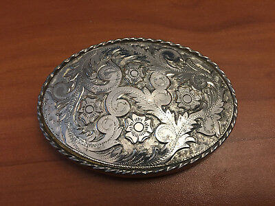 Belt Buckle 3.5  Inch Metal Brass Silver Western Design Mens