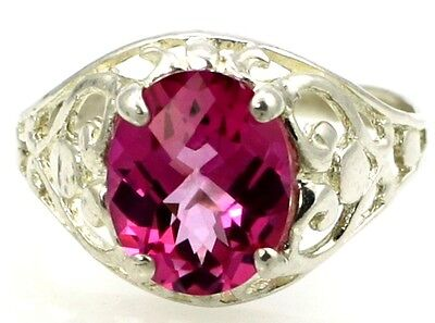 10x8mm PURE PINK TOPAZ Sterling Silver Ladies Ring -Handmade • SR004
