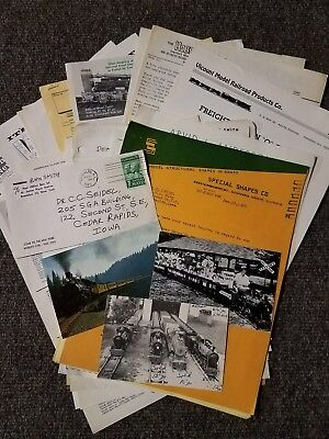 Large Lot of Letters, sales literature and postcards for model railroad mid 60's