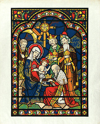 ADORATION OF THE MAGI Vtg c1940s-60's Vibrant Serigraph Holy Family & 3 Wise Men