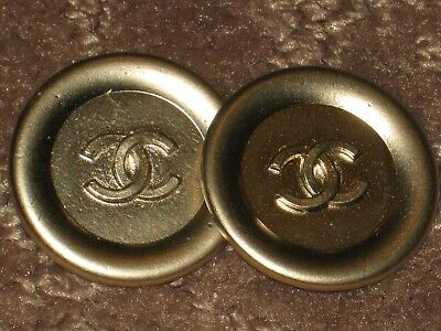 CHANEL 2  BUTTONS matte gold   CC LOGO 24 mm / OVER 1''   NEW LOT 2