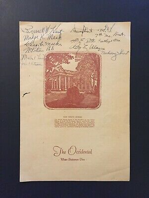 The Occidental Restaurant Washington D.c. 1953 Signed Menu Dewey Short Missouri