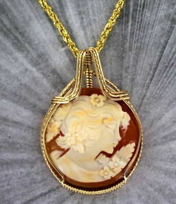 Antique Vintage Cameo Pendant Necklace in 14kt Rolled Gold   Wire Wrapped