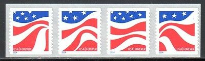 SC#4897a  - Forever (49c) - Red, White & Blue Coil Strip of 4 MNH