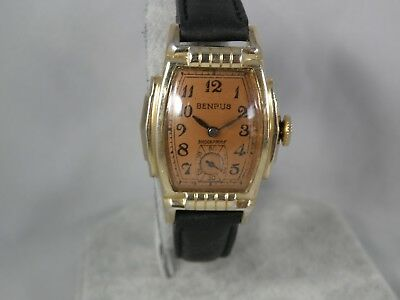 SERVICED 1930` or 1940`S BENRUS....HANDSOME ART DECO SCALLOPED CASE ..